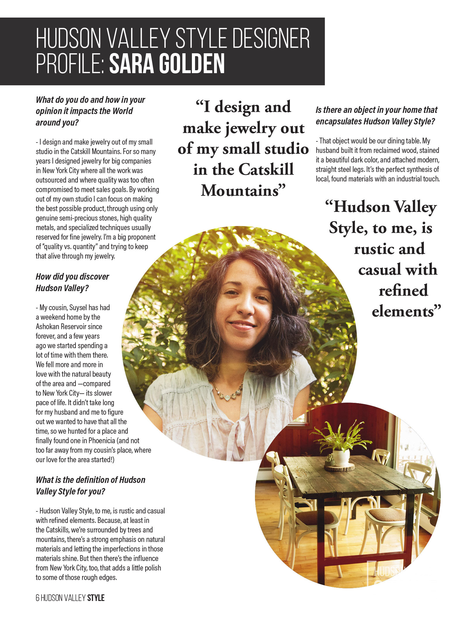 Hudson Valley Style Magazine Designer Profile: Jewelry Designer Sara Golden