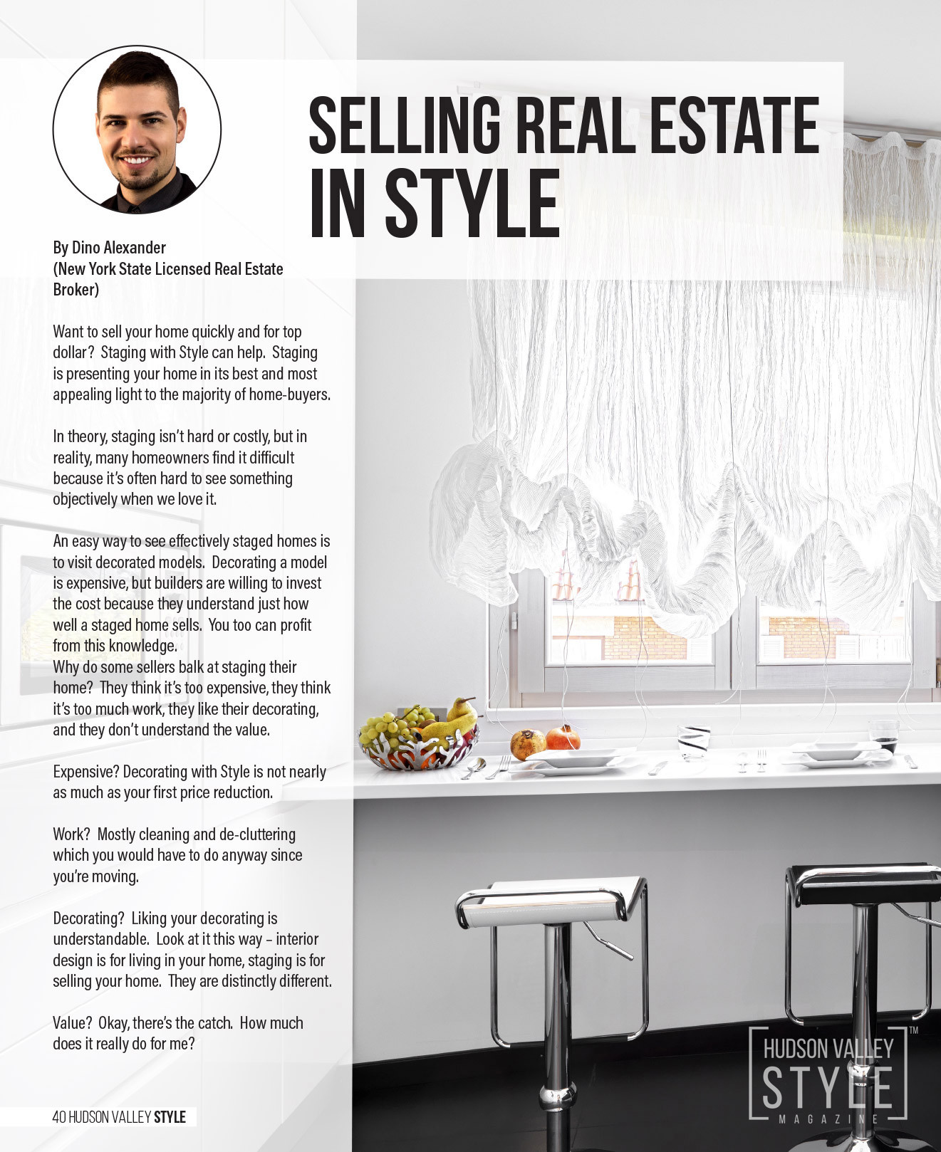 Selling Real Estate in Style by Dino Alexander - Spring 2018 - Hudson Valley Style Magazine