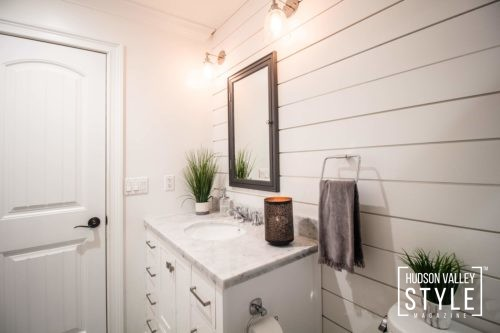 Double Vanity - Shiplap - Modern Rustic Bathroom Design - Luxury Hudson Valley Home for Sale - Almax Realty - The Best Real Estate in the Hudson Valley