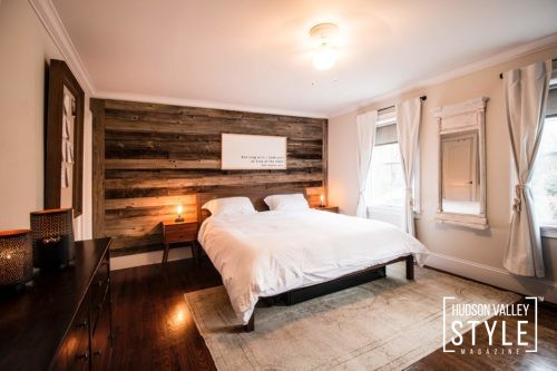 Master Bedroom - Reclaimed Wood Feature Wall - Modern Rustic Interior Design - Luxury Hudson Valley Home for Sale - Almax Realty - The Best Real Estate in the Hudson Valley