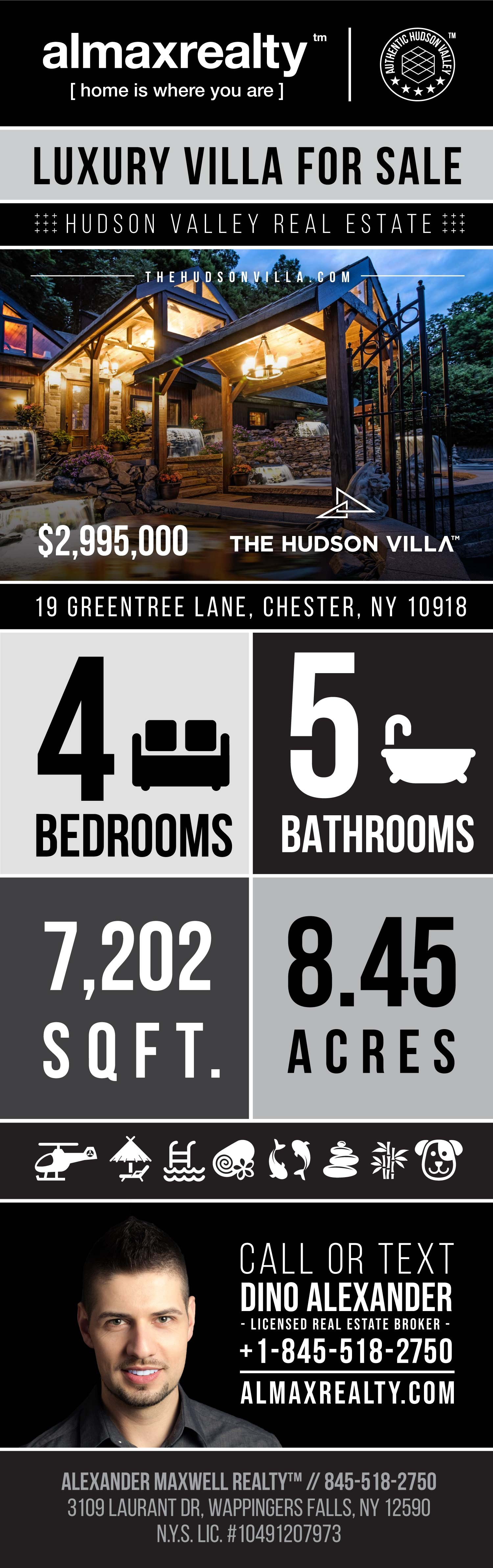 Infographic - Luxury Villa for Sale in Chester, New York - The Hudson Villa