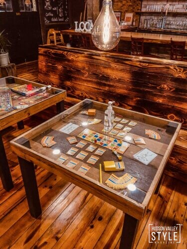 Shadow box game table in 3rd & Co's main hall