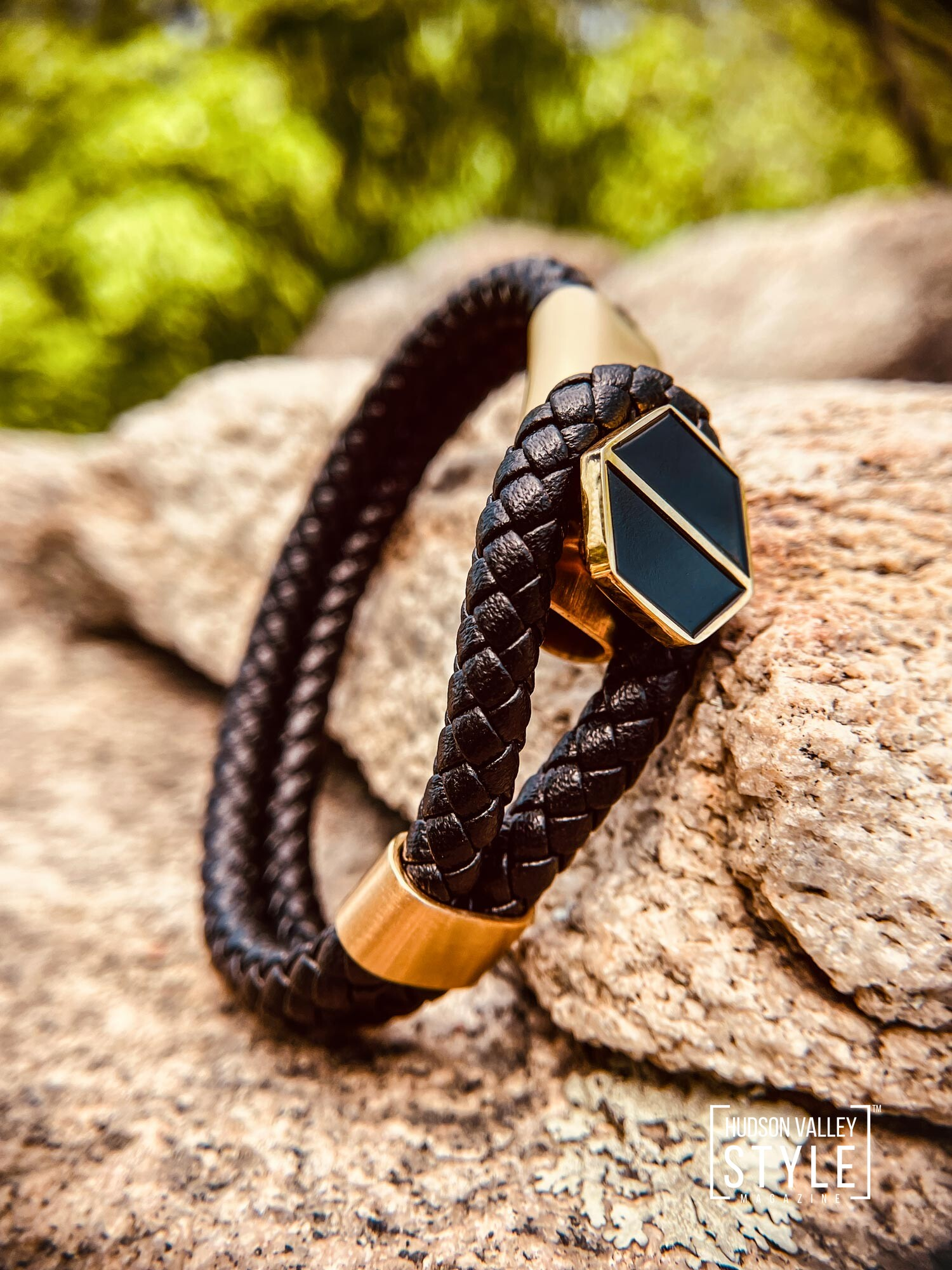 Black Leather and Gold Lasso Bracelet by HARD NEW YORK