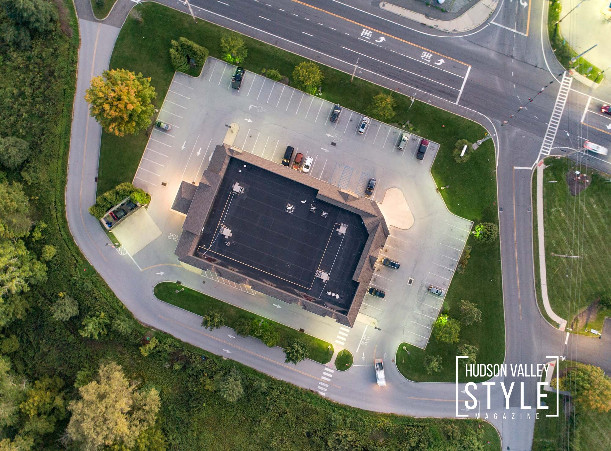 Walgreens, Highland, New York - Commercial Real Estate, Aerial and Twilight, Twilight Photography by Duncan Avenue Studios - Hudson Valley, Catskills and Westchester, NY